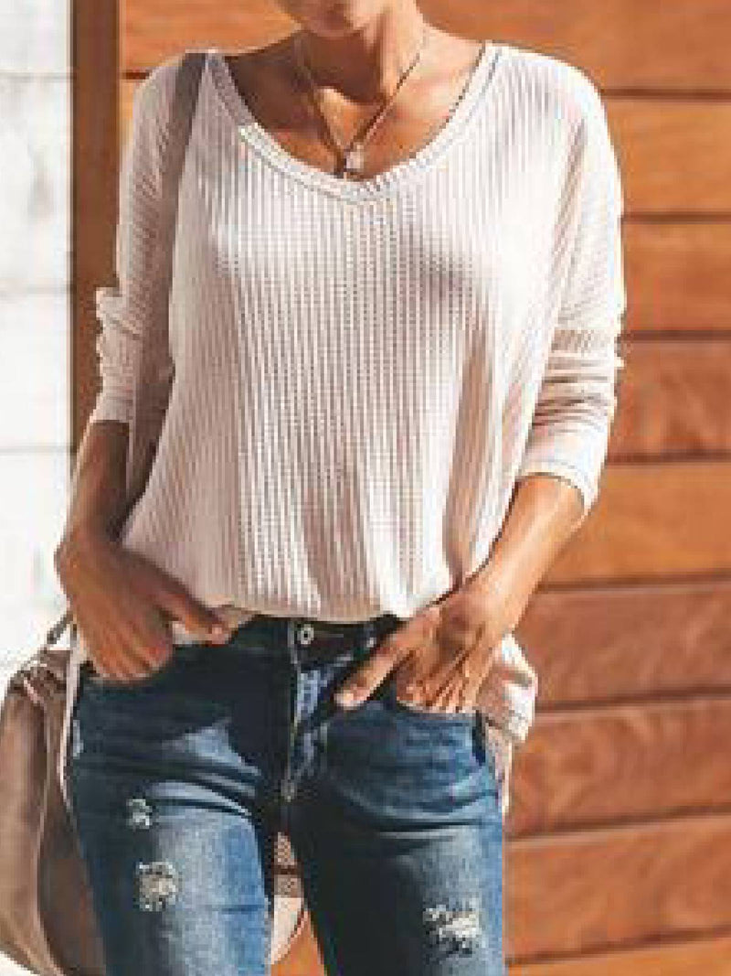 Deep Apricot Knitted V Neck Long Sleeve Sweater