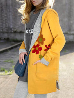 Floral-Print Hoodie Long Sleeve Casual Pockets Outerwear