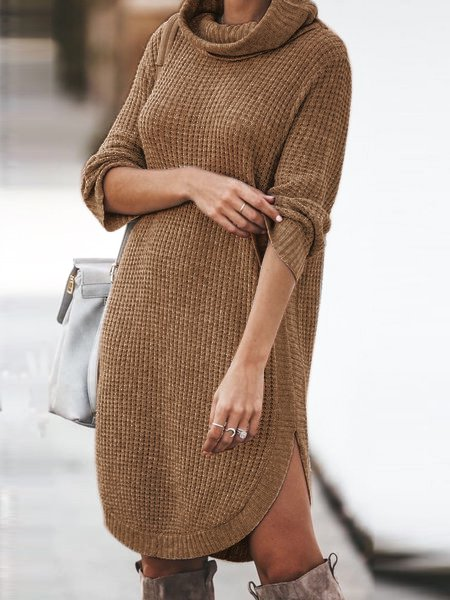 Solid Turtleneck Casual Dresses