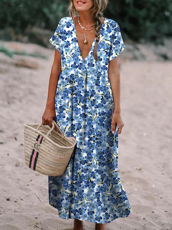 Floral-Printed Maxi Holiday Dress