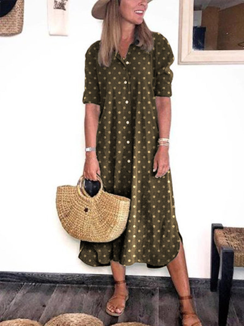 Casual Polka Dots Turn-Down Collar Buttoned Long Sleeve Dress