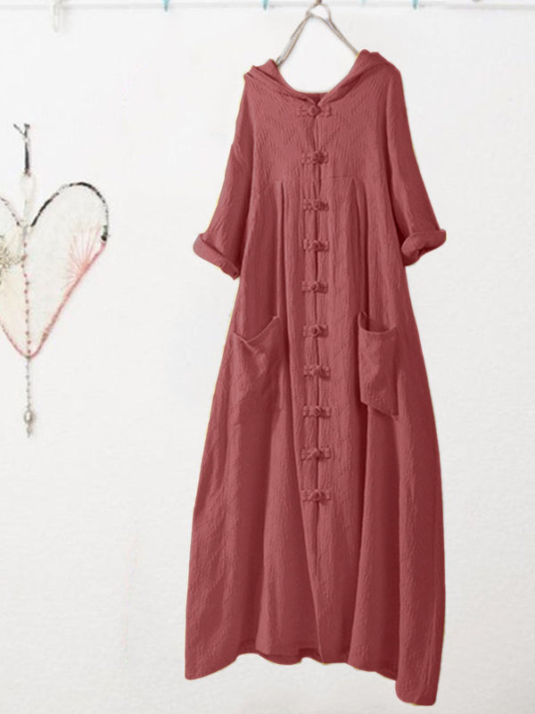 Plus Size Vintage Half Sleeve Crew Neck Casual Dresses
