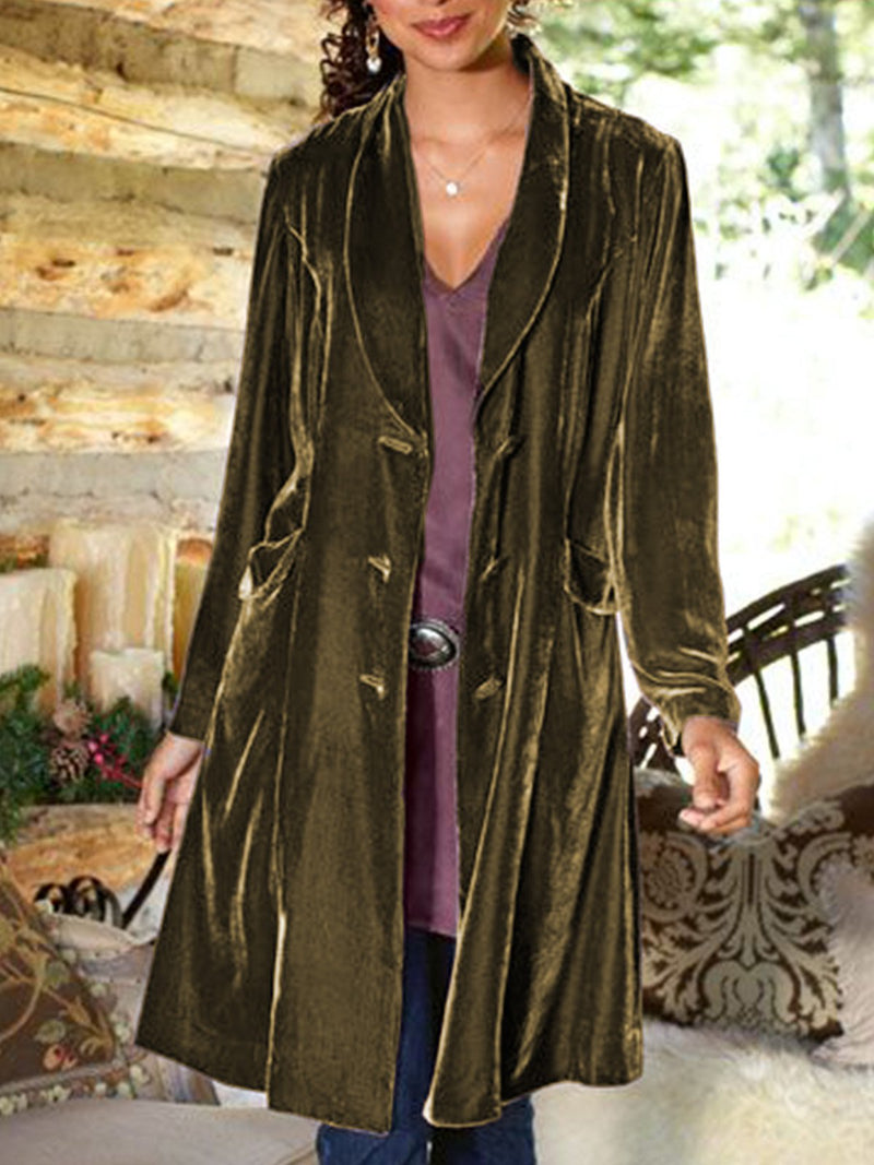 Women's Casual Solid Shawl Collar Outerwear