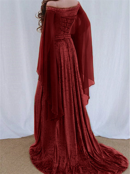 Autumn Classic Sweet Fairy Velvet Long Dress