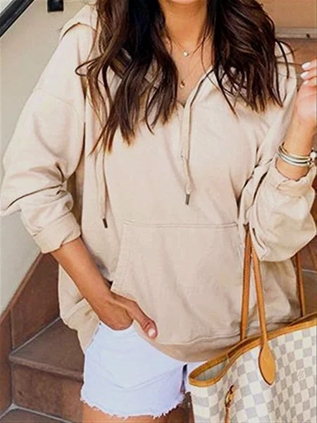 Autumn Casual Daily Basic Beige Cotton Hoodie