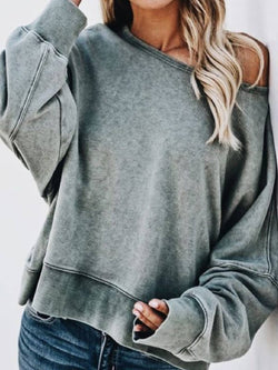 Solid Long Sleeve Cotton-Blend Tops