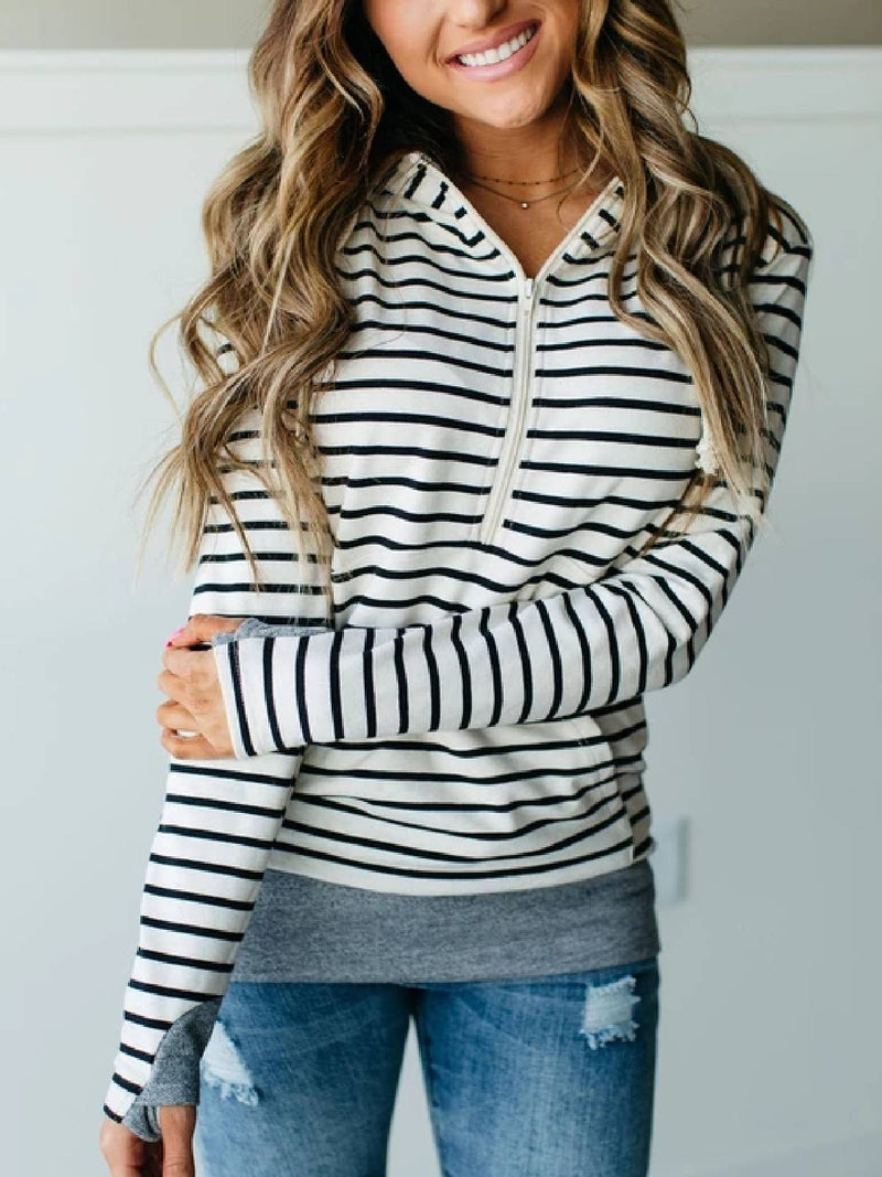 White-Black Striped Long Sleeve Tops