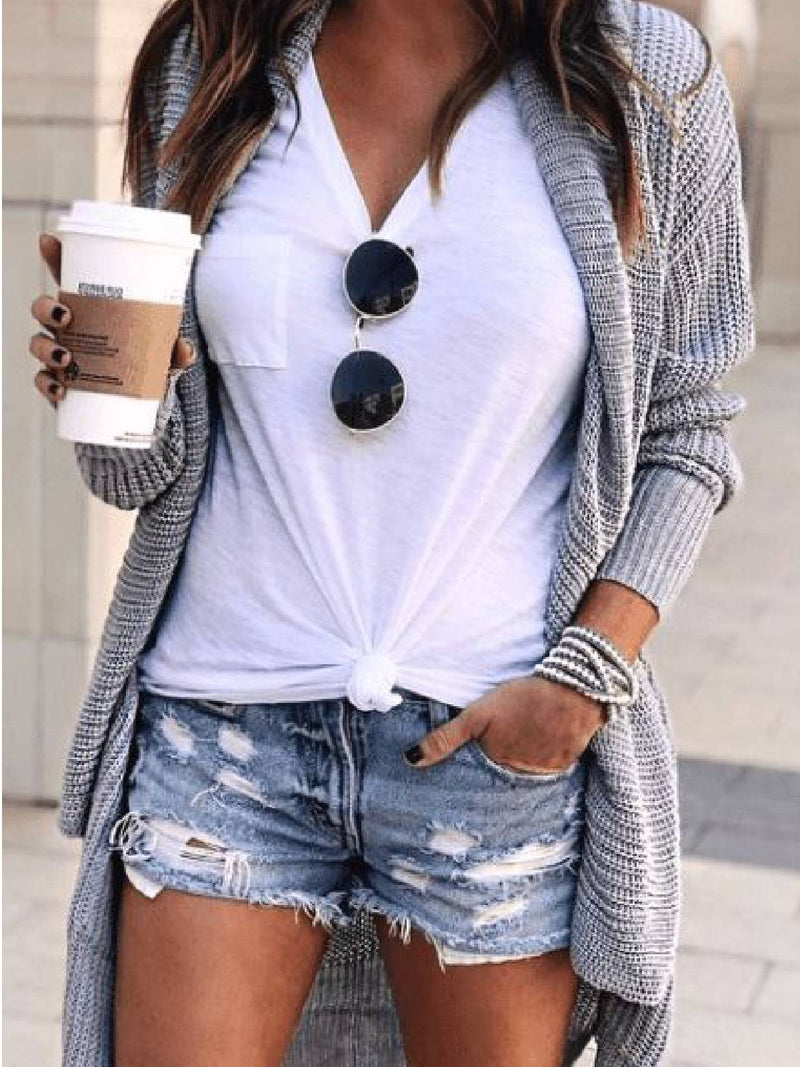 Grey Casual Knitted Solid Sweater