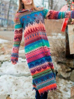 Boho Color-Block Shawl Collar Dresses