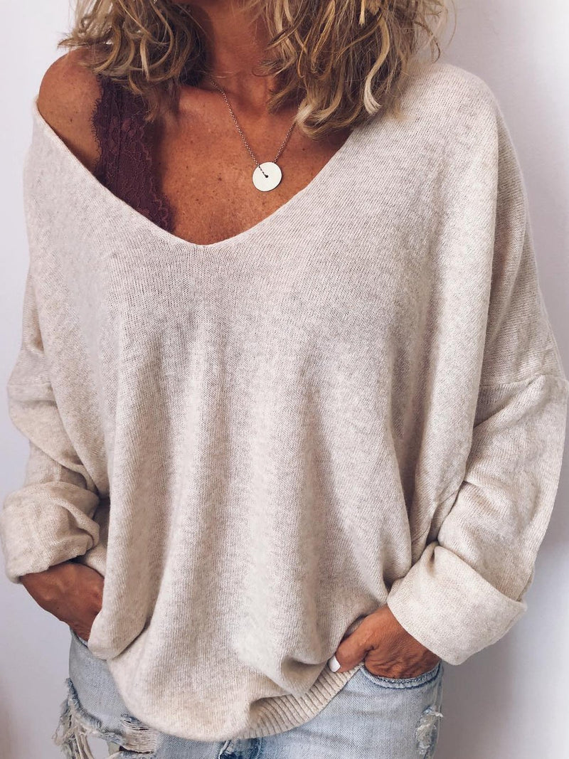 Long Sleeve V Neck Cotton-Blend Solid Shirts & Tops