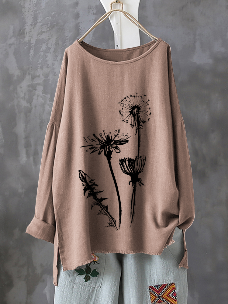 Casual Print Flower Long Sleeve Autumn Shirt