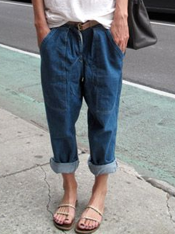 Solid Denim Casual Pants