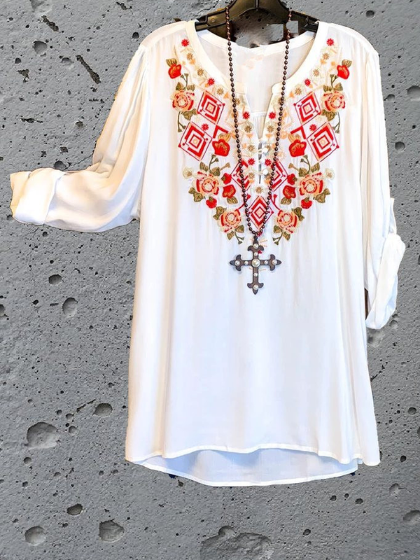 Long Sleeve V Neck Cotton Floral Shirts & Tops