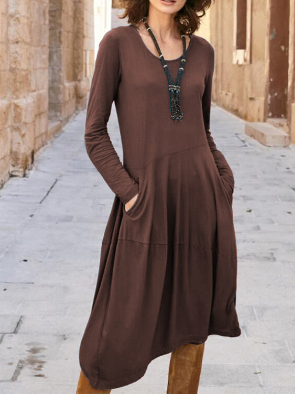 Casual Plain Crew Neck Long Sleeve Pockets Dress