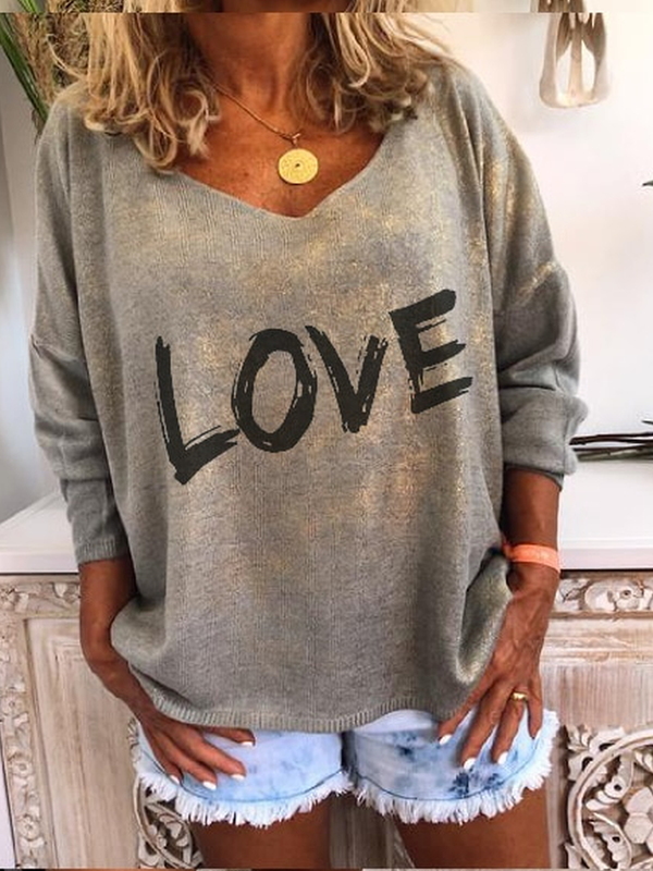 Knitted Long Sleeve Letter Sweetheart Sweater