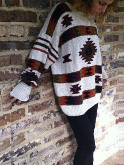 Gray Tribal Cocoon Batwing Sweater