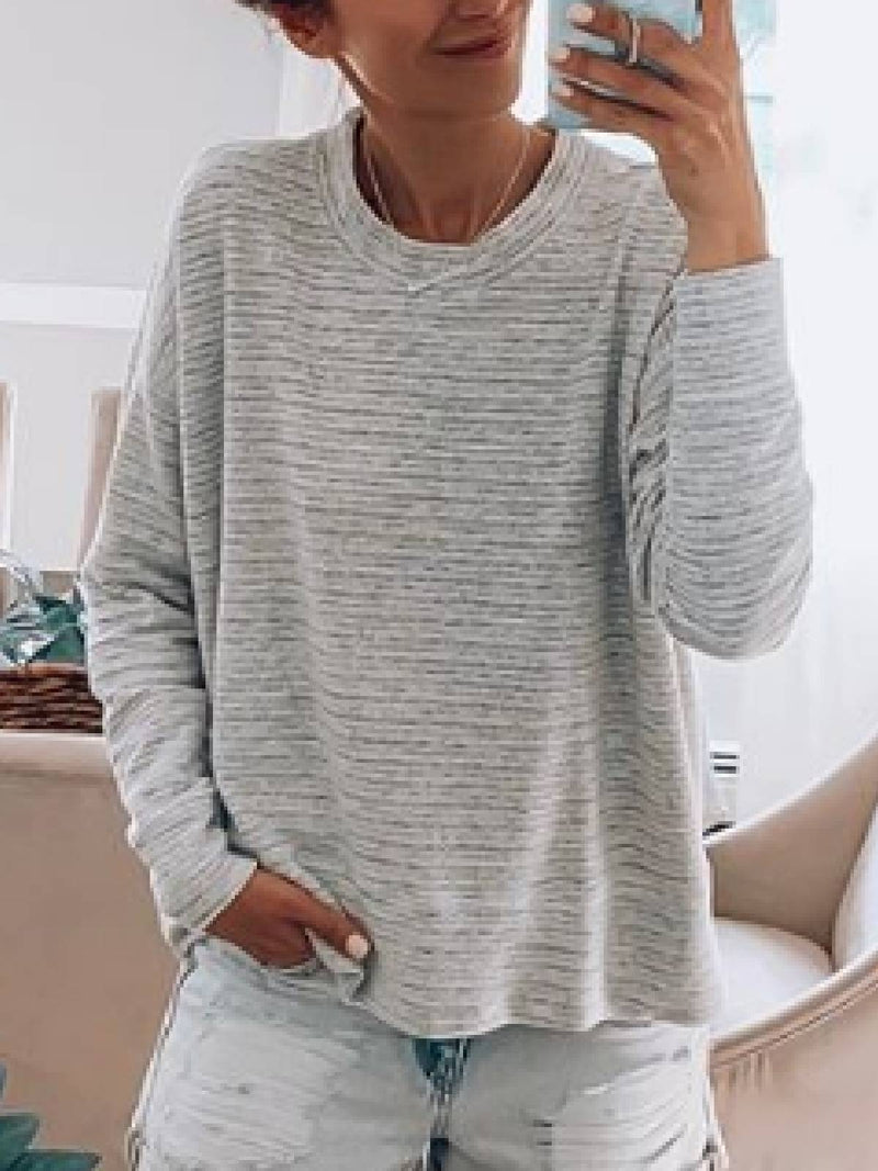 Solid Casual Crew Neck Tops