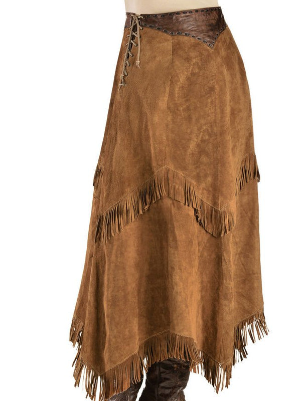 Brown Plain Casual Faux Suede Skirts