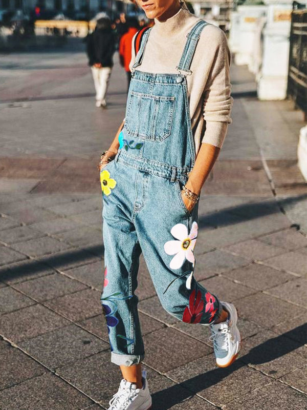 Holiday cotton loose denim jumpsuit