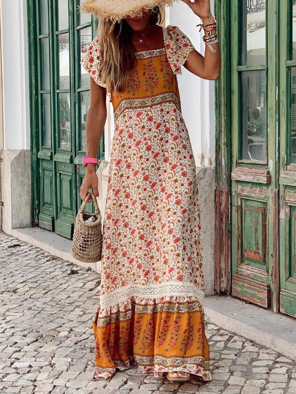 Bohemian holiday flower large size dress
