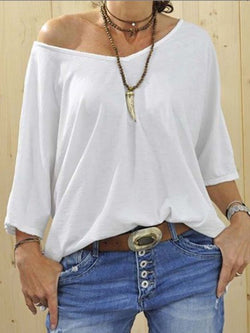 White V Neck Long Sleeve Cotton-Blend Shirts & Tops