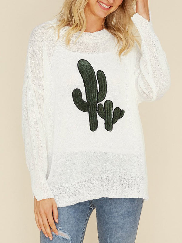 Plant Cotton Long Sleeve Crew Neck Shirts & Tops