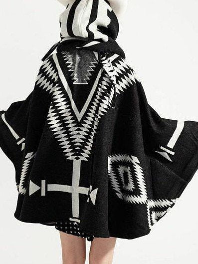 Aztec Fluffy Coat Hooded Button Front Cloak