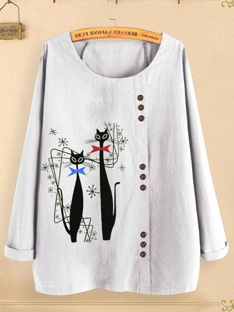 Casual Long Sleeve Printed Round Neck Shirts