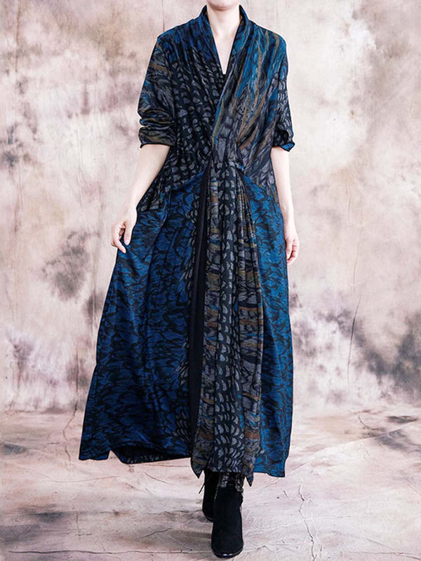 Blue Cotton-Blend Long Sleeve Dresses