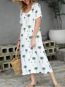 Shirt Collar Women Dresses Beach Casual Cotton-Blend Dresses
