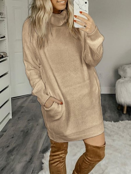 Solid Long Sleeve Turtleneck Dresses