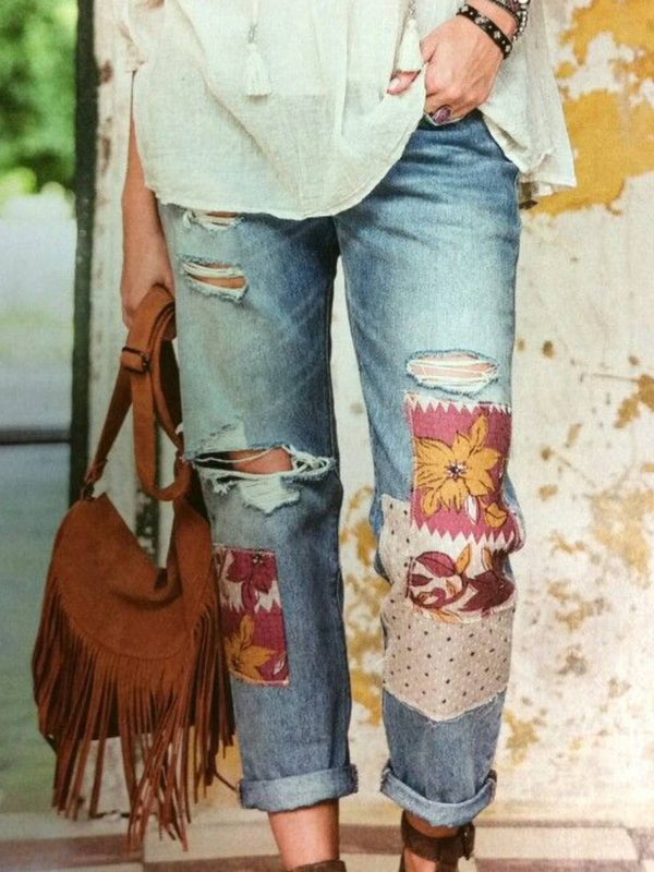 Blue Printed Denim Casual Pants