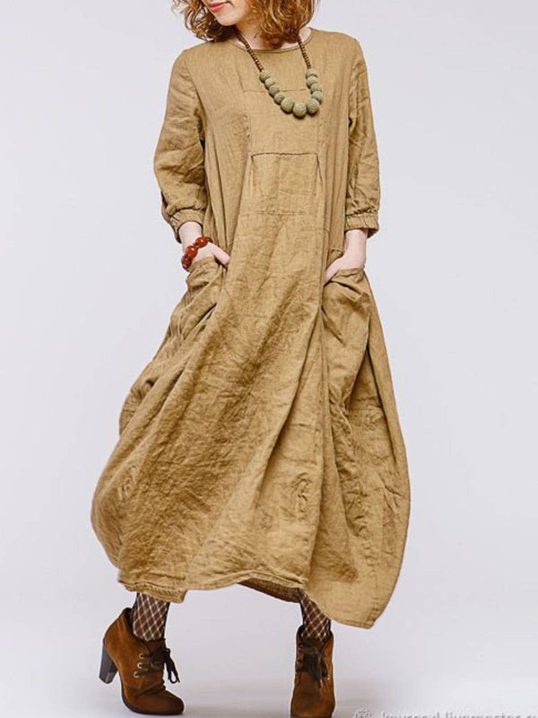 Camel Linen Long Sleeve Plain Crew Neck Dresses