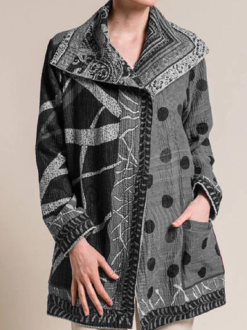 Gray Buttoned Long Sleeve Shawl Collar Outerwear