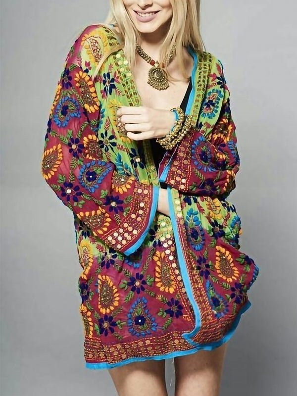 Plus Size Long Sleeve V Neck Floral Outerwear