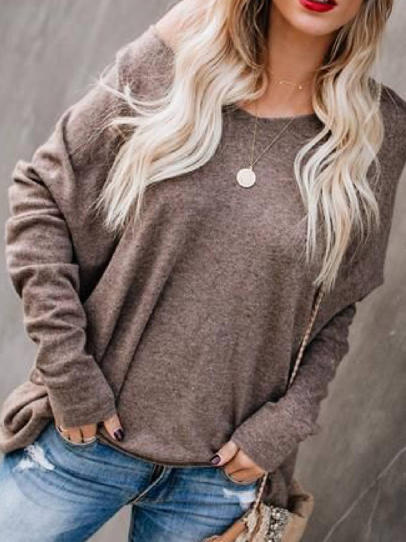 Coffee Knitted Casual Round Neck Shirts & Tops