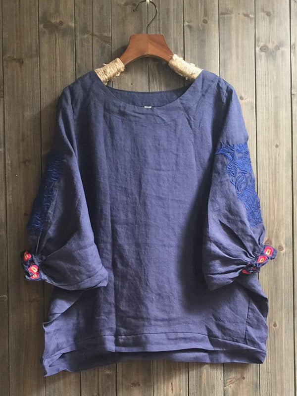 Crew Neck Embroidered Batwing Casual Shirts & Tops