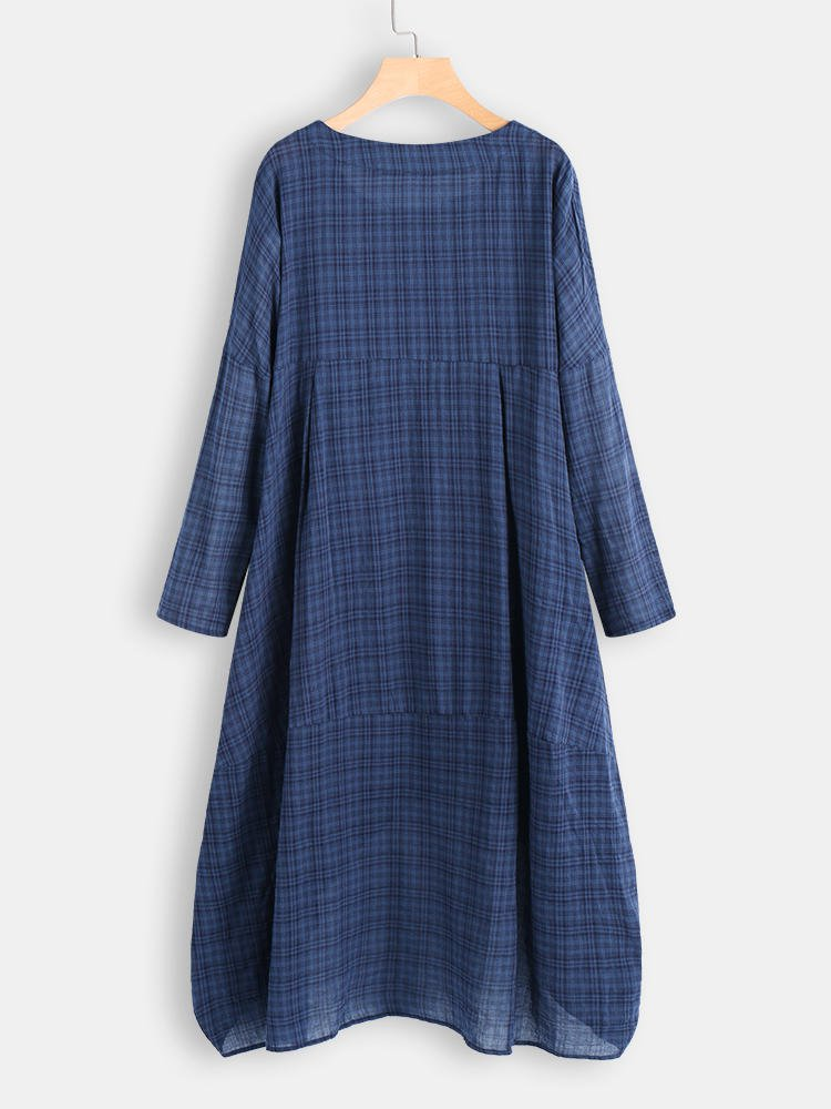 Vintage Asymmetric 3/4 Sleeve Crew Neck Plus Size Dress