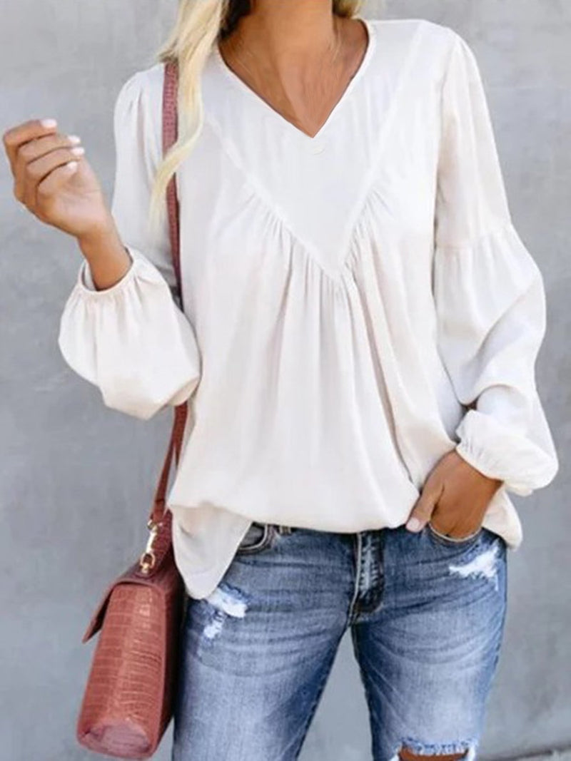 White Long Sleeve Plain Shirts & Tops