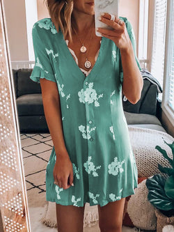 Plus Size Women Caftans Shift Daytime Casual Floral-Print Dresses
