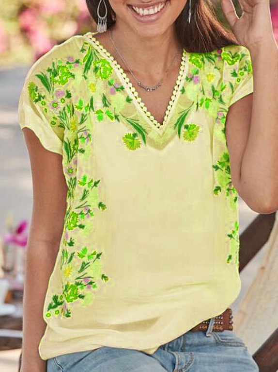 Floral Short Sleeve Casual Shirts Blouses