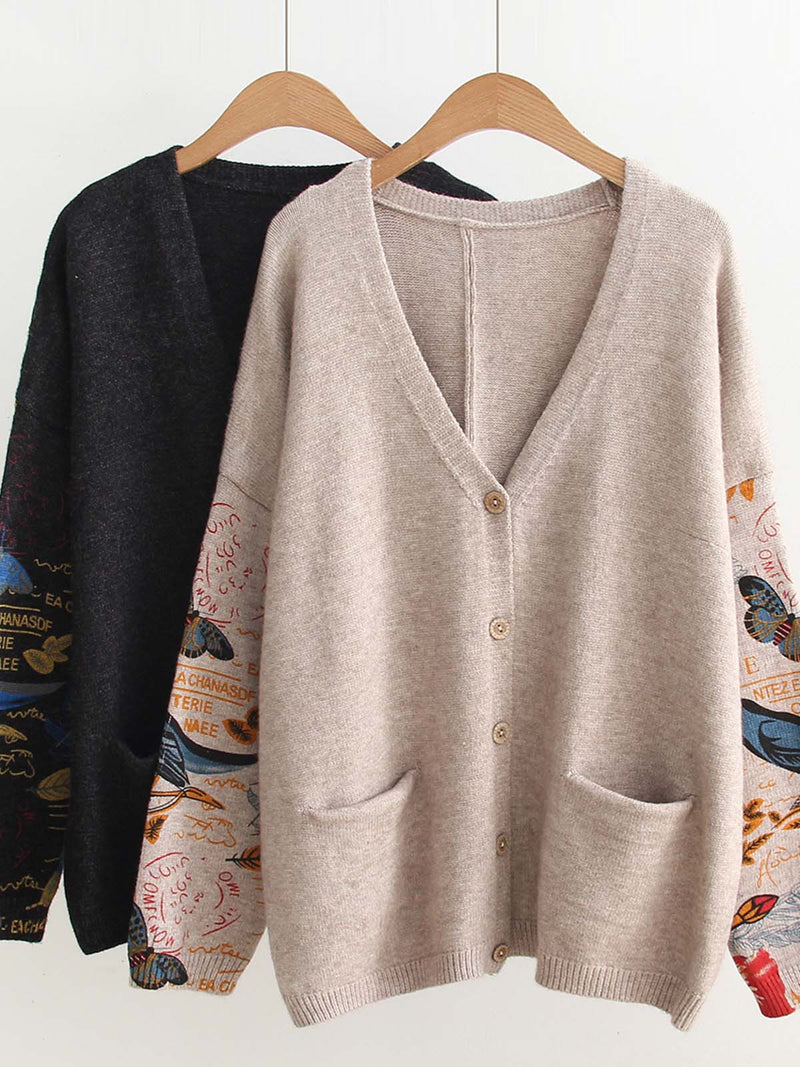 Abstract Knitted Long Sleeve Outerwear