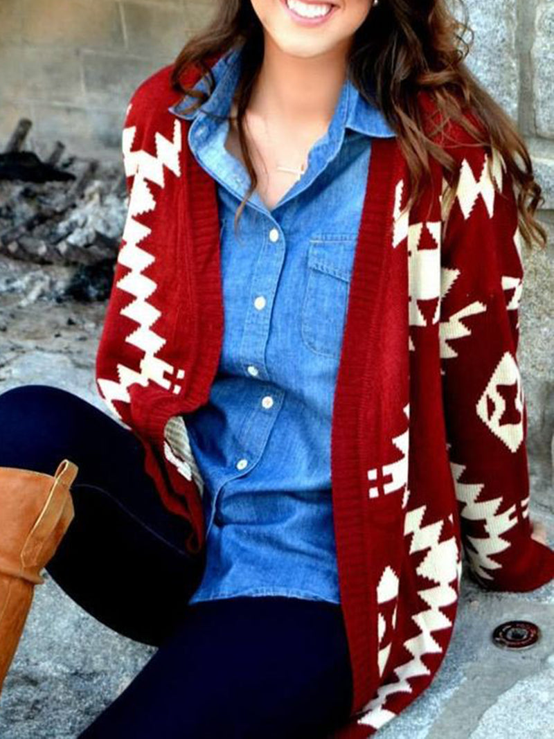 Red Boho Knitted Long Sleeve Outerwear