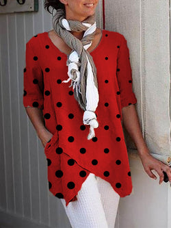 Half Sleeve Dot-Intarsia Linen Shirts & Tops