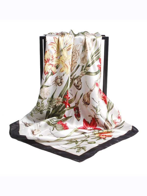 Holiday Daily Spring Fall Silk Women Floral Printed Scarf