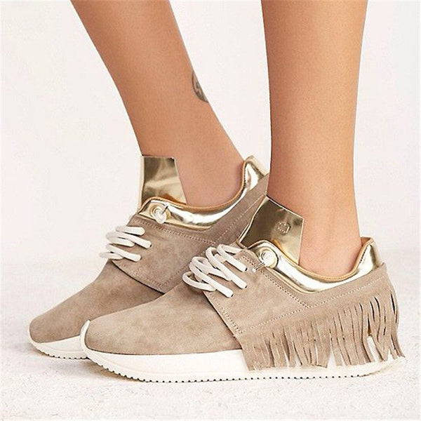 Women Casual Lace-Up Faux Suede Tassel Comfy Sneakers