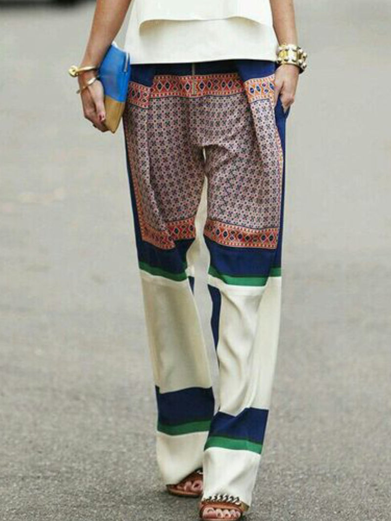 Casual Printed Pockets Pants