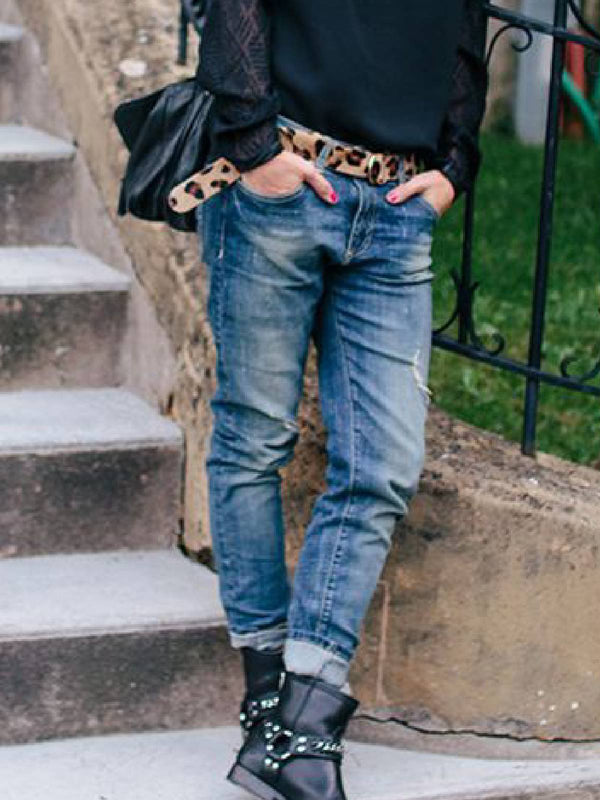 Blue Casual Denim Ripped Pants