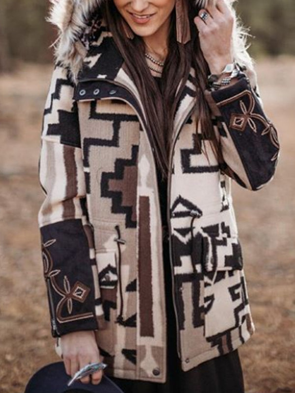 Multicolor Color-Block Boho Cotton-Blend Outerwear