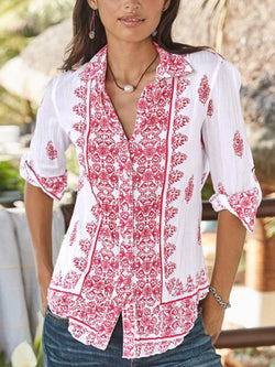 Women V-neck Half-sleeved Printed Casual Top